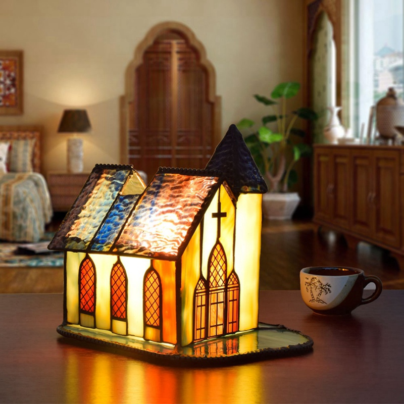 European style creative stained glass Church glass decorative Desk Lamps Living room, dining room, bar, bedroom gif Night light church stained squares