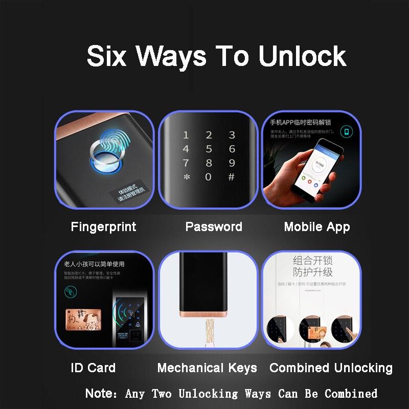 Smart Biometric Fingerprint Lock Electric door lock mechanical Key Code RFID card Mobile APP digital lock Home Castle Gate open in Electric Lock from Security Protection