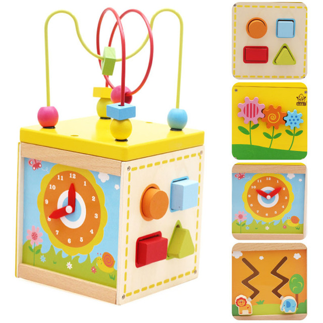 Baby Learning & Education Wooden Multi-function Treasure Box Bead Wire Maze Roller Coaster Toys Set For Kids Children ZS001
