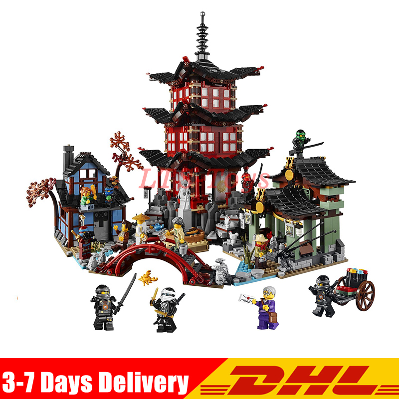 DHL LEPIN 06022 2150Pcs Ninja Temple of Airjitzu Jay Kai Cole Building Block Compatible LegoINGLY 70751 Bricks Toys Gifts ninja temple model building blocks 06022 2150pcs assembly block toys for children ninja figure bricks compatible with legoinglys