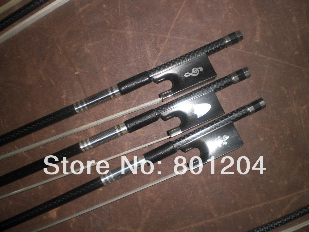 3 PCs Strong balanced Carbon Fiber Violin bow 4/4 different ebony frog 2 pcs quality black carbon fiber violin bow black bow hair ebony frog with carved flower 4 4