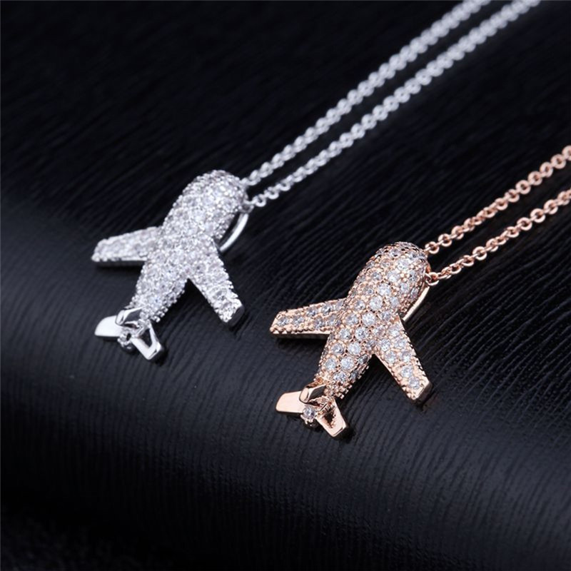 Shiny Fully Rhinestone Airplane Pendant Necklace Aircraft Choker Gold Silver Color Clavicle Chain For Women Men Copper Jewelry image