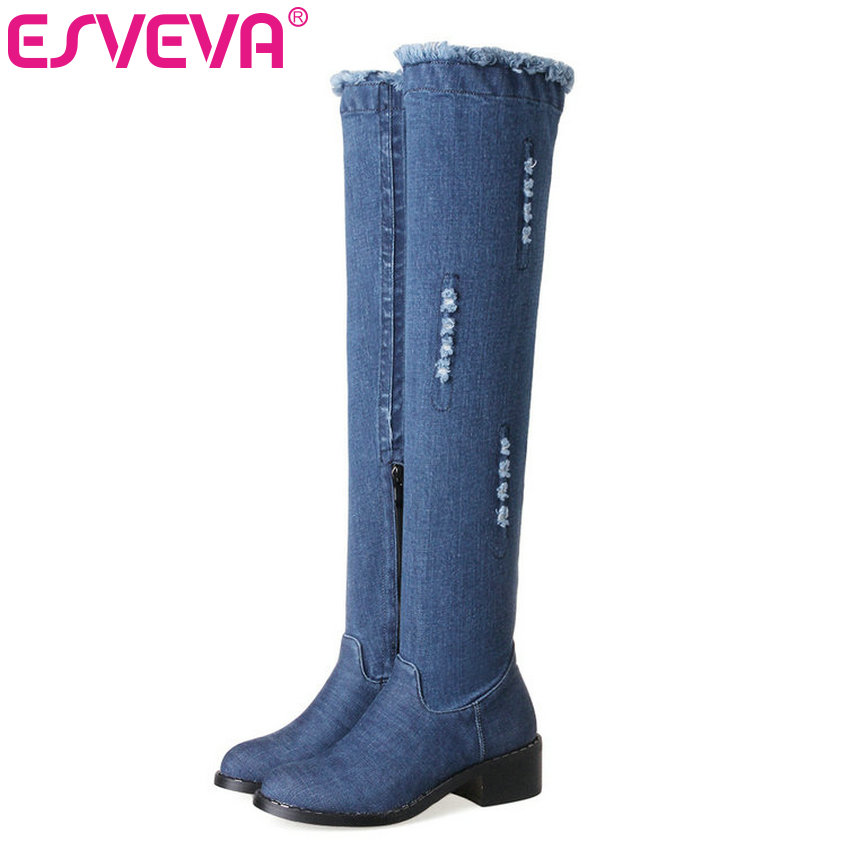 ESVEVA 2018 Denim Women Boots Blue Party Over Knee High Boots Sexy Square Med Heels Sexy Autumn Ladies Fashion Boots Size 34-43 esveva 2018 women boots sexy black thin high heels zipper ankle boots party platform warm autumn winter ladies boots size 34 43