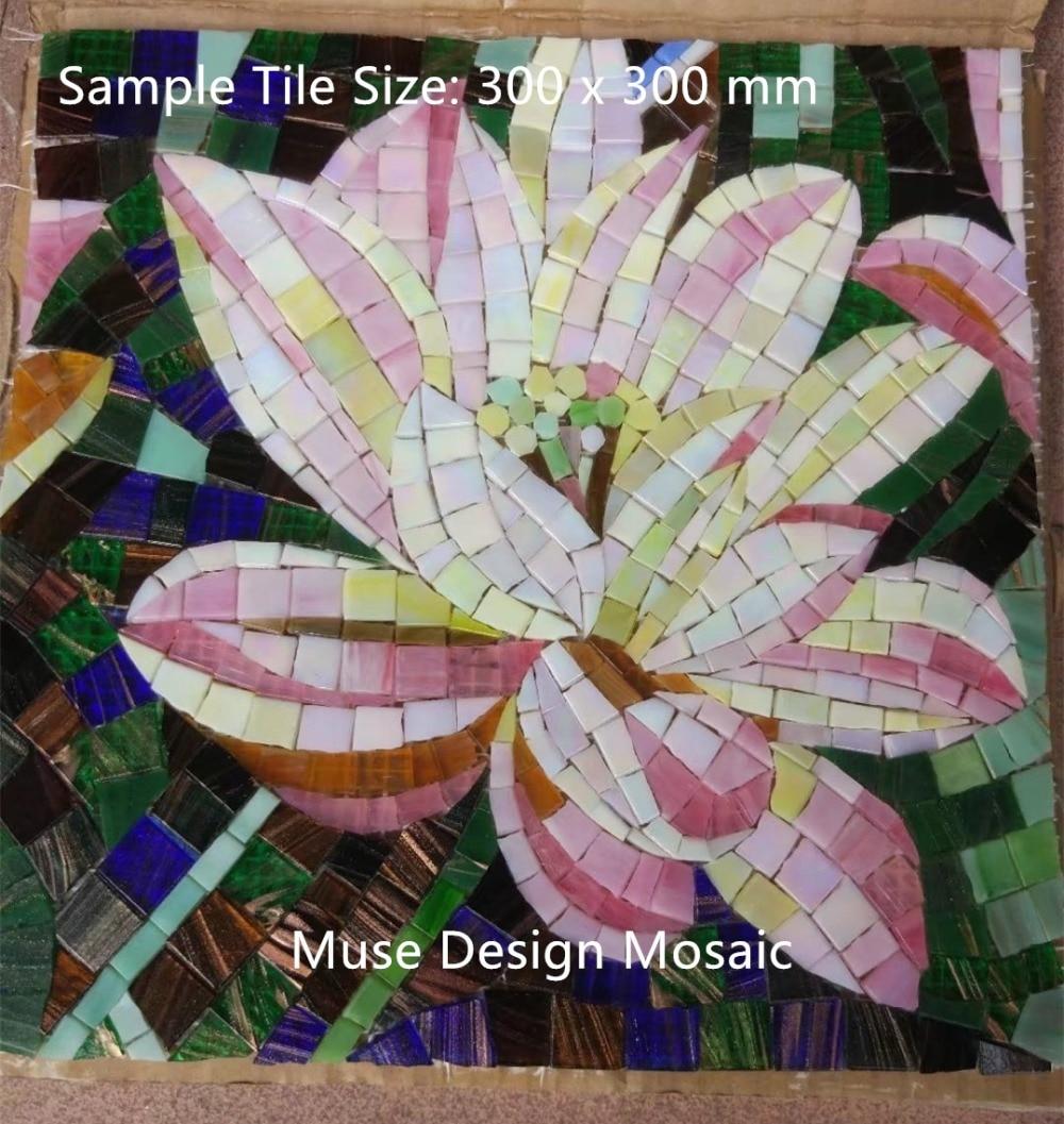 Factory Lotus Flower Glass Mosaic Hand Cut Backsplash Mosaic Tile