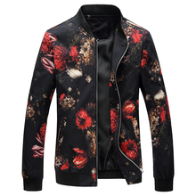 купить 2017 Autumn Bomber Jacket Men Fashion Slim Fit Mens Casual Print Jacket Long Sleeve Stand Collar Windbreaker Coat Male 3XL-M Hot по цене 1629.49 рублей