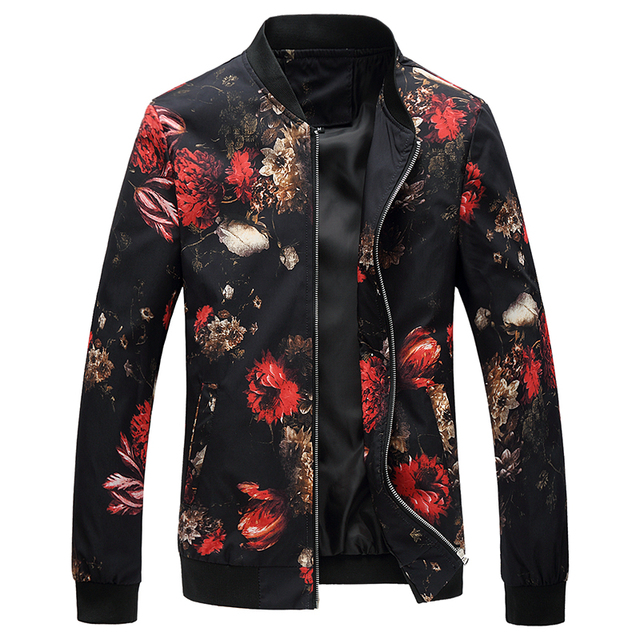 2019 Spring Autumn Bomber Jacket Men Floral Printed Fashion Slim Fit Mens Casual Jackets Long Sleeve Mens Windbreaker Coat Male