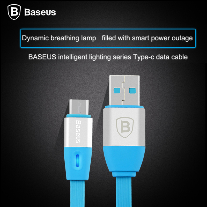 Baseus USB Type-C Cable LED Smart Power-Off Data Sync Charge Type C Cable For Samsung Note7 Oneplus 2 3 LG G5 HTC10 Nexus 5X 6P