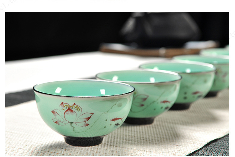 11 pièces Longquan celadon créatif chinois Kung Fu tasse Lotus Danfeng théière crépine en céramique thé cérémonie thé ensemble cadeau boîte - 3