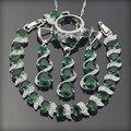 Emerlad verde Blanco Creado Topaz 925 Plata de La Joyería Para Las Mujeres Pendientes/Colgante/Collar/Anillos/pulseras Caja Libre