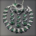 Green Emerlad White Created Topaz 925 Sterling Silver Jewelry Sets For Women Earrings/Pendant/Necklace/Rings/Bracelets Free Box