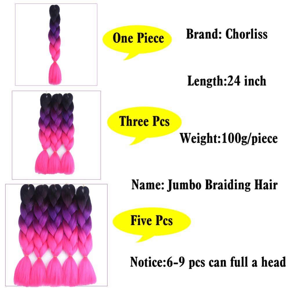 """Chorliss 24 """"прямой jumbo ombre плетение волос blacktred Синтетические пряди для наращивания волос вязанная косами 100 г/упак."""