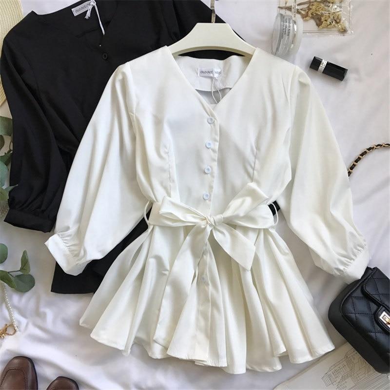 Woherb 2019 Casual V-neck Ruffles Shirt Women Bandage Blouse Elegant Single-breasted Blusas Office Shirts Vetement Femme 20728 4
