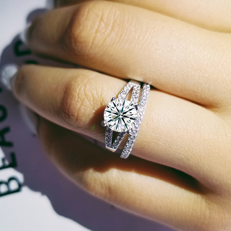 Solid 925 Sterling Silver Wedding Ring Set For Women Bride