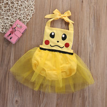 Christmas Gift Yellow Toddler Newborn Baby Girl Romper Jumpsuit Tulle Pikachu Outfits Sunsuit(China)