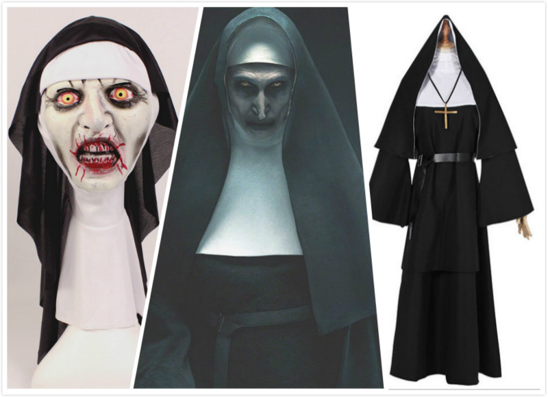 Hot Sale The Nun Horror Cosplay Costume With Mask Valak Virgin Latex Masks Adult Deluxe Clothing Halloween Costumes