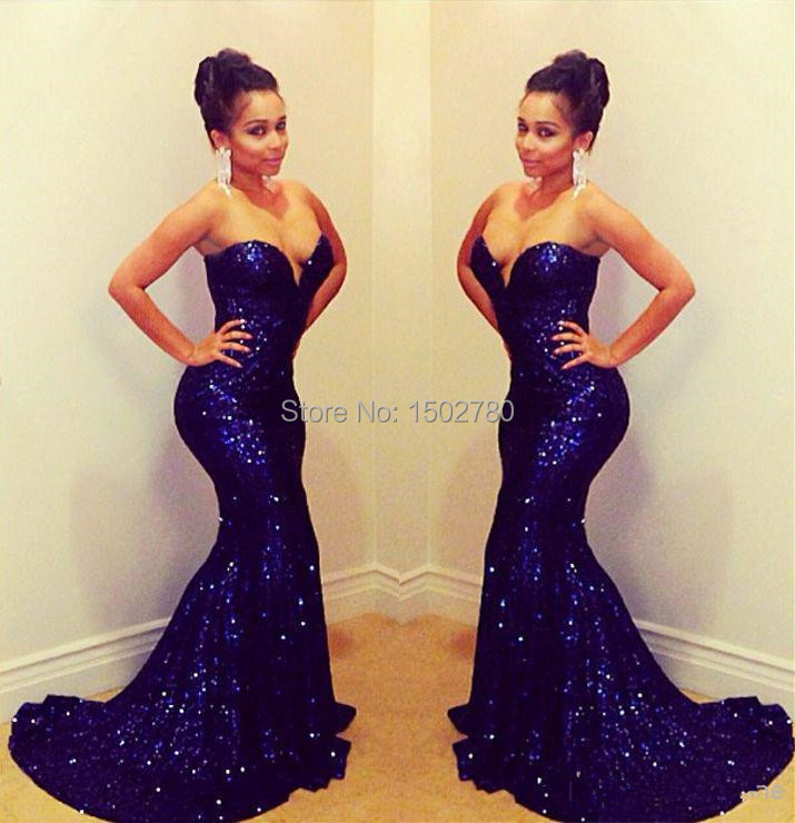Aliexpress.com : Buy Custom Made Blue Sexy Fitted Prom Dresses ...