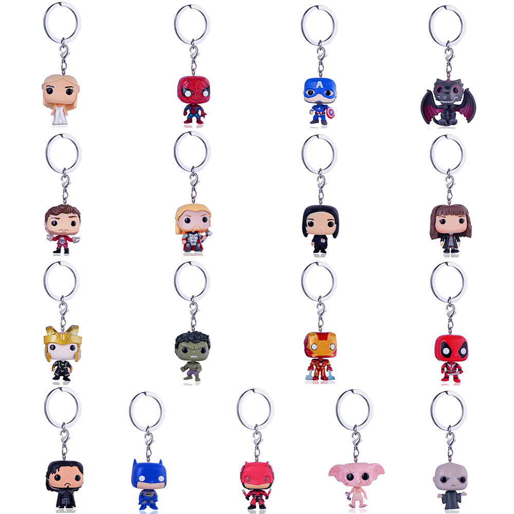 Funko Pop Harri Potter Keychain Marvel Captain America Movie Anime Key chain iron Man Figure Game of Thrones Key ring Kid Toy quik lok mp891