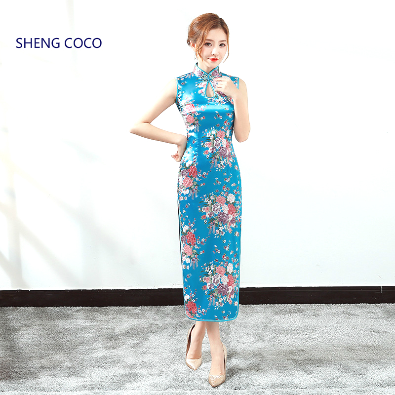 Sheng Coco Summer Sleeveless Dresses Chinese Qipao Sexy Split Silk Dress Plus Size 3XL Sleeveless Cheongsam Peacock Pattern