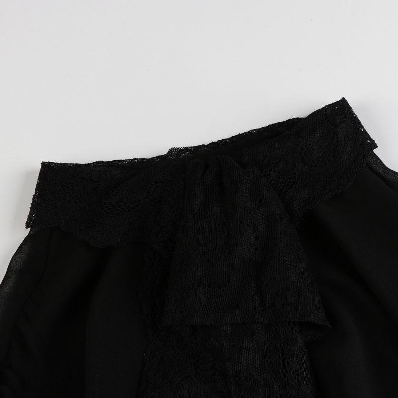 HDY Women Black Sheer Blouse Shirts Lantern Sleeve Bow Tie Lace up Sexy Lady Shirts Bowknot Elegant Female Tops Blusas Femininos 13
