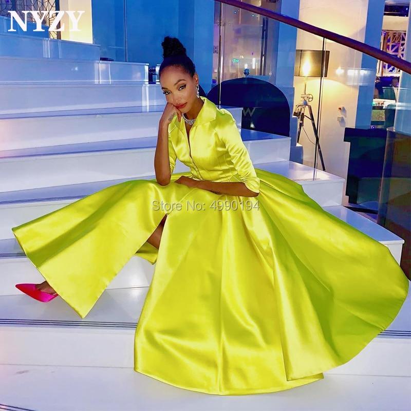 NYZY C126 Vintage Satin Half Sleeves Yellow Robe Cocktail Dress Party Graduation Evening vestido coctel 2019