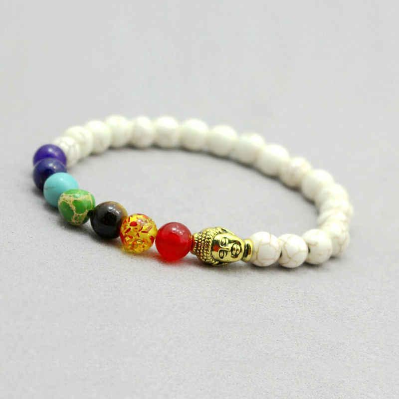 7 bransoletki i bransolety Chakra mężczyźni Lava Healing Balance modlitwa buddyjska reiki z kamienia naturalnego zroszony bransoletka Chackra jogi dla kobiet