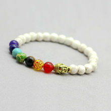 Unisex 7 Chakra Black Lava Healing Reiki Buddha Prayer Natural Stone Yoga Bracelet