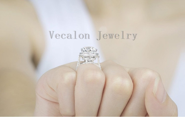 Vecalon 2016 Brand Design Female Crown ring 5ct AAAAA Zircon cz 925 Sterling Silver Engagement wedding Band ring for women