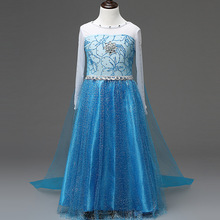 Girls Elsa/ Ella Costume Princess Cosplay Dress Children's Romance Cartoon Party Cosplay Long Dress For 3-7Y C178(China)