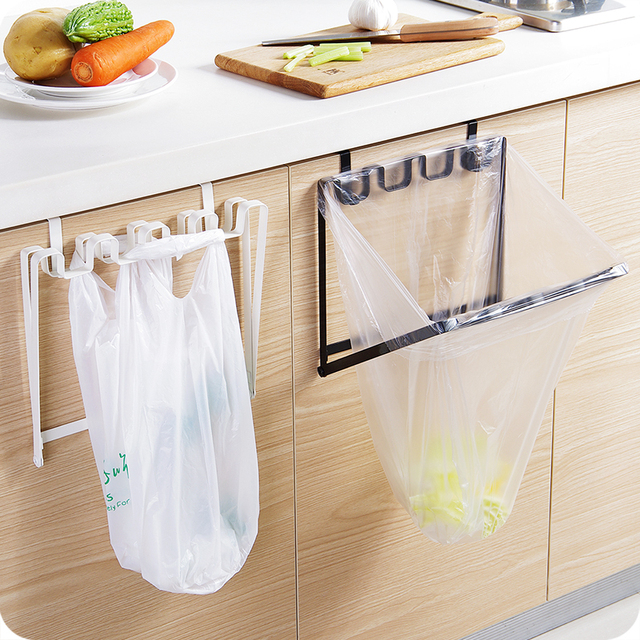 Amazing Iron Hook Type Folding Rubbish Bag Holder Cupboard Cabinet Door Hanging  Trash Bag Stand Support Storage