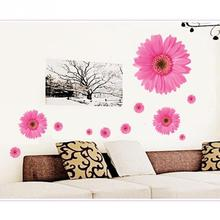 Hot Sale Daisy Flower Living Room Vinyl 3D Wall Stickers Window Decor Bedroom Wall Decals Sticker To The Kitchen On The Door