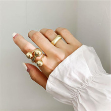 New Fashion Silver Gold Color Korean Elegant Metal Ball Ring Adjustable Opening Rings Personality Female Delicate Jewelry 2019