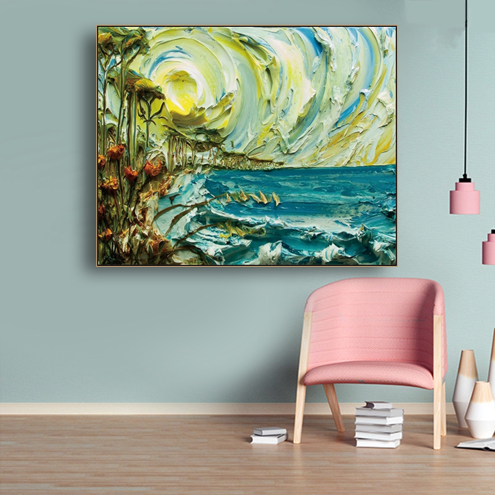 Scenery Stereoscopic Canvas Painting Calligraphy Poster and Prints Living Room House Wall Decor Art Home Decoration Picture in Painting Calligraphy from Home Garden