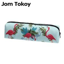 Jom tokoy 3D Print Flamingo Cosmetic Bag The New Women Makeup Bag Stationery Pouch Kids School Pencil Bag