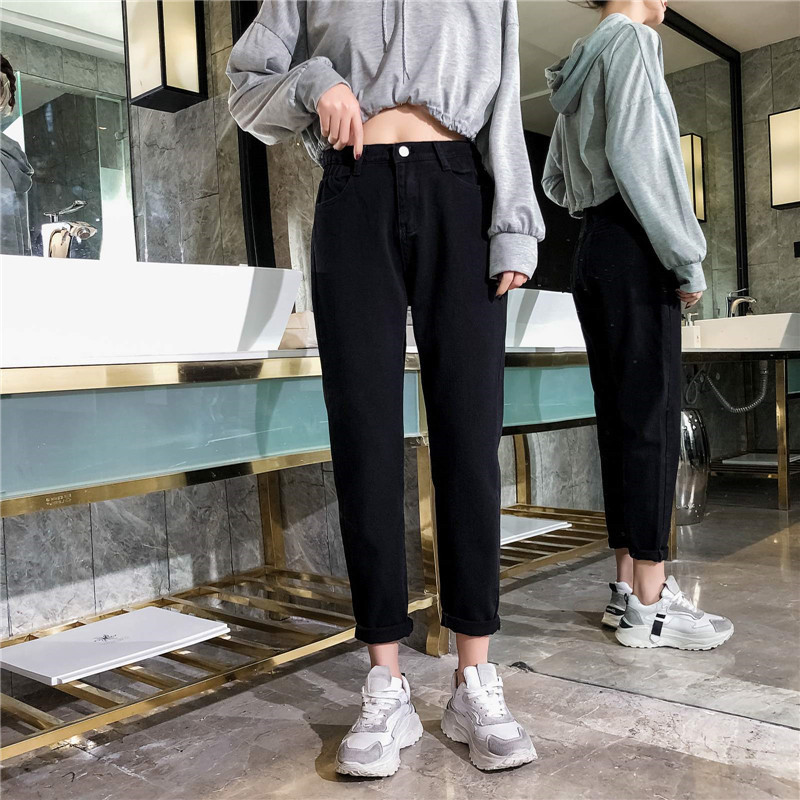 GCAROL 19 Spring Fall Elastic Waist Retro Old Pants Ankle Length First Love Loose Vintage Straight Pants Plus Size 25-32 2