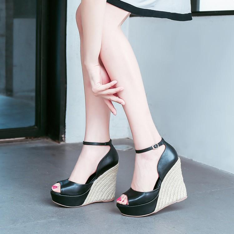 Super High Cane Wedges Womens Shoes Black Leather One Buckle Fish Toe Platform Sandals Cover Heel Ankle Buckle Shoes Woman BrandSuper High Cane Wedges Womens Shoes Black Leather One Buckle Fish Toe Platform Sandals Cover Heel Ankle Buckle Shoes Woman Brand