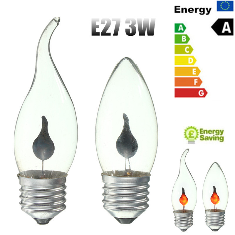 3W Vintage LED Light Bulb E27 Energy Saving Fire Flickering Flame ...