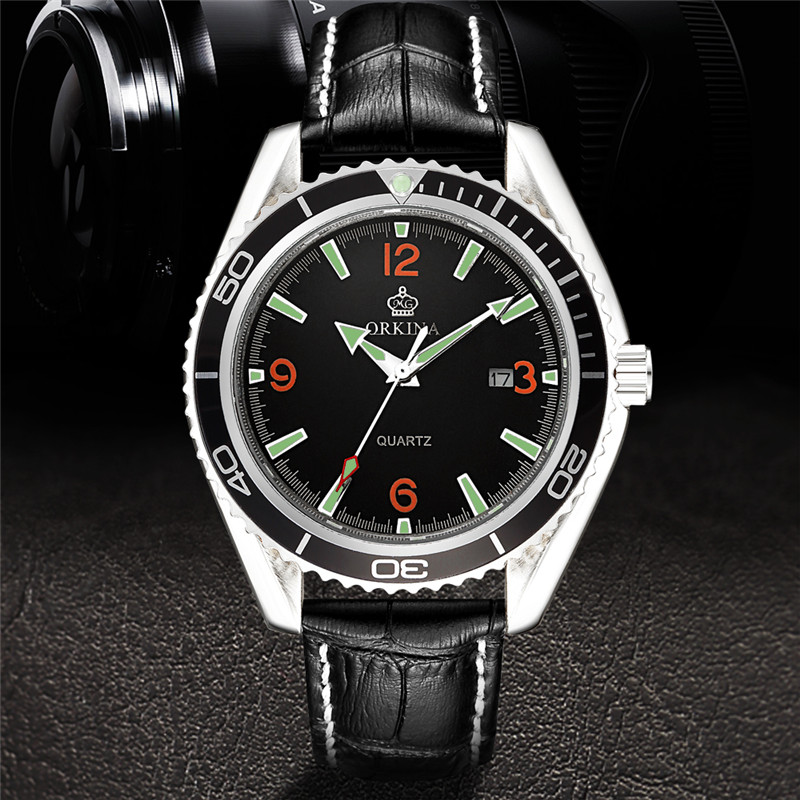 ORKINA Luxury Fashion Men Quartz Wristwatch  Luminous Function Dial Unique Design Case Genuine  Leather Band Dress Male Watches forsining luxury mmechanical men wristwatch genuine leathe band unique design dial cost effective male casual fashion watch
