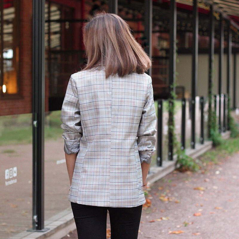 Casual Plaid Women Blazer Jacket Notched Collar Double Breasted Female Suit Coat Fashion Outerwear blaser femme Jacket 21