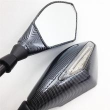 For Motorcycle Cruiser Chopper Carbon Motorcycle Integrated LED Turn Signals Side Mirrors