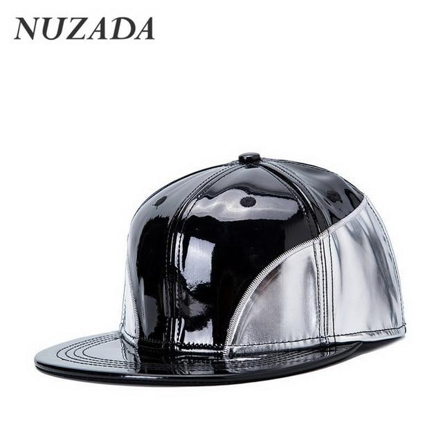 Brands NUZADA PU Leather Splicing Men Women Baseball Caps Sports Hip Hop Hats Snapback Bone Flat Edge Quality Punk Cap jt-003