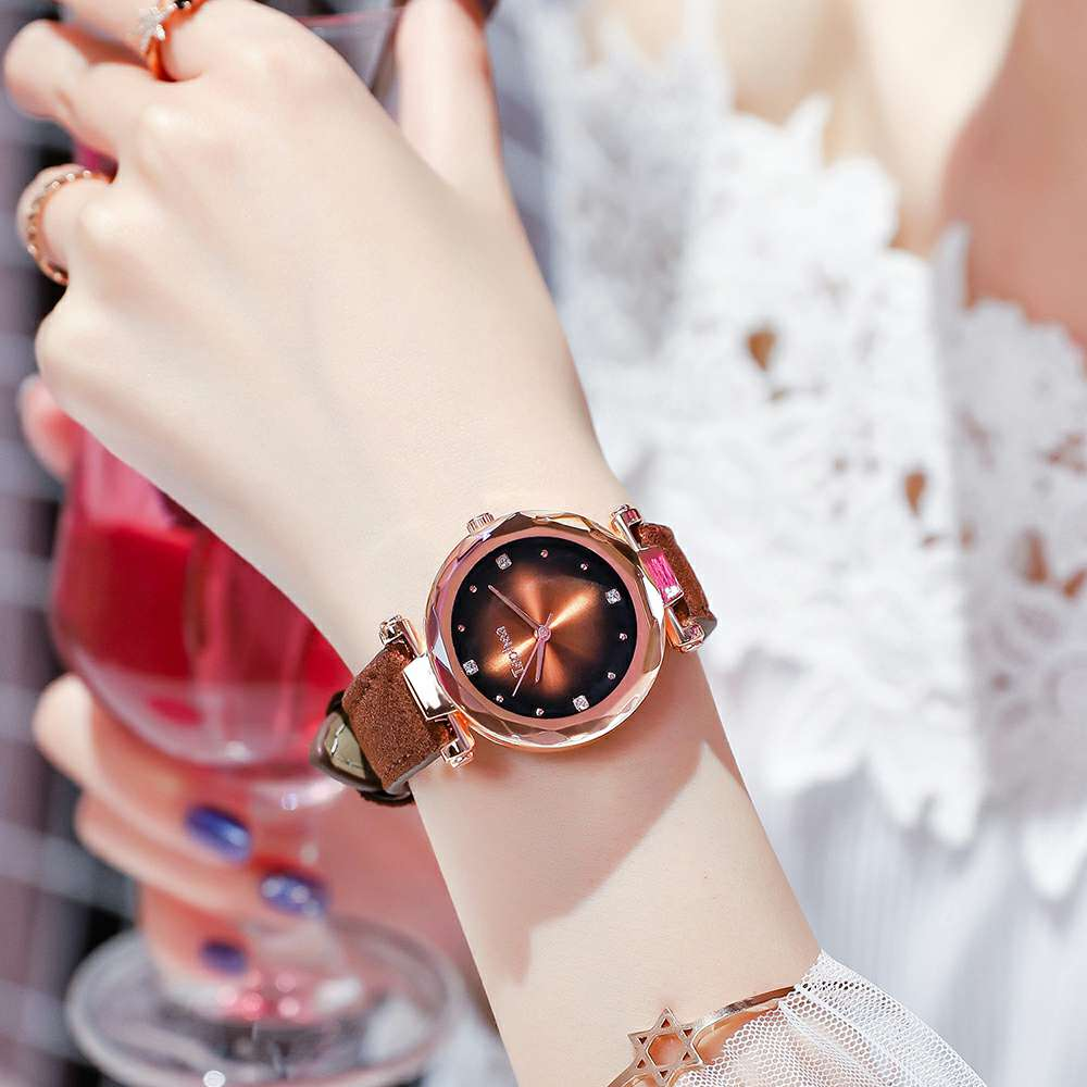 Luxury Women Watches Fashion Colorful Leather Flower Surface Ladies Starry Sky Wristwatches Waterproof Clock Gift Drop Shipping in Women 39 s Watches from Watches