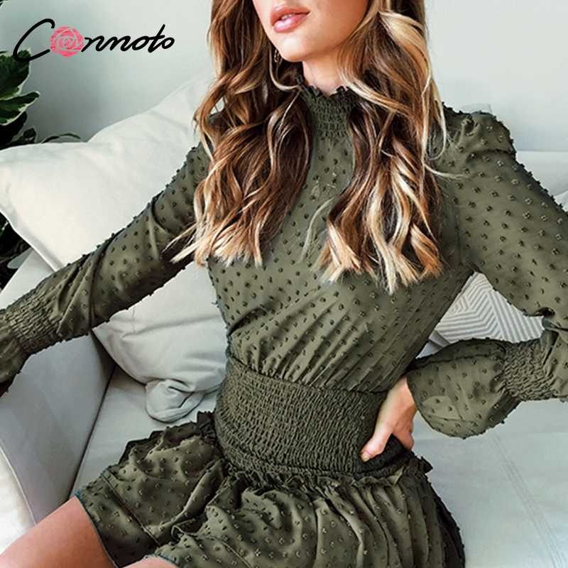 Conmoto Turtleneck Polka Dot Autumn Winter Dress Women Long Sleeve Polka Dot Retro Dress Red Party Casual Ruched Dress Vestidos