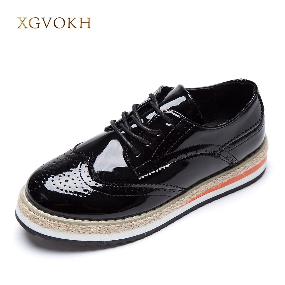 XGVOKH Women's Flats Leather Fashion Shoes Women Platform Lace-Up Wingtips Square Toe Oxfords Shoe qmn women crystal embellished natural suede brogue shoes women square toe platform oxfords shoes woman genuine leather flats