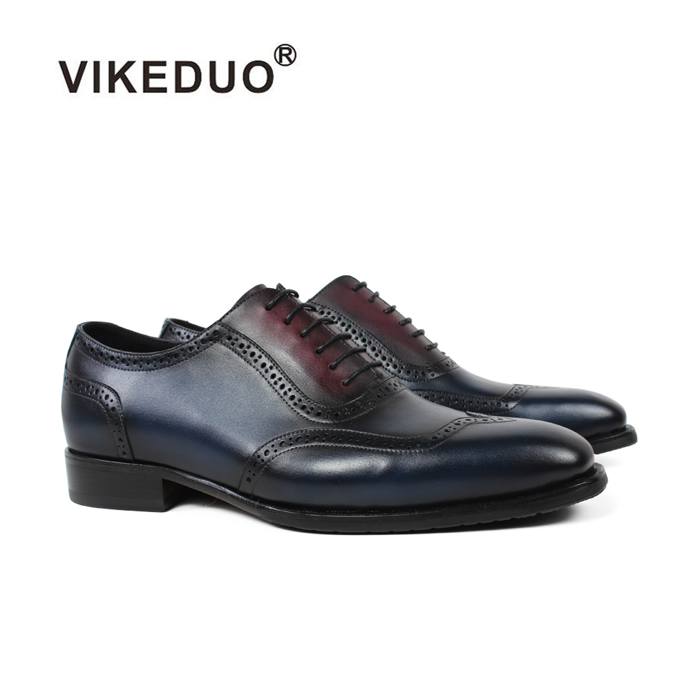 Vikeduo 2019 New Handmade Designer Fashion Shoes Luxury Wedding Male Full Brogue Calfskin Genuine Leather Patina