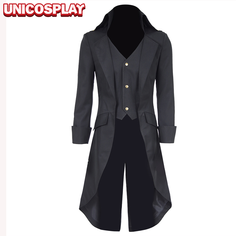 Steampunk Black Long Trench Cosplay Costume Men Wasitcoat Party Suit Halloween Uniform