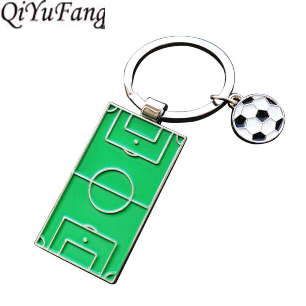 Football Glass Vintage Keychain Gift Men Women Steampunk Silver Soccer Club Fans Key chain Holder Ornament Bag Pendant