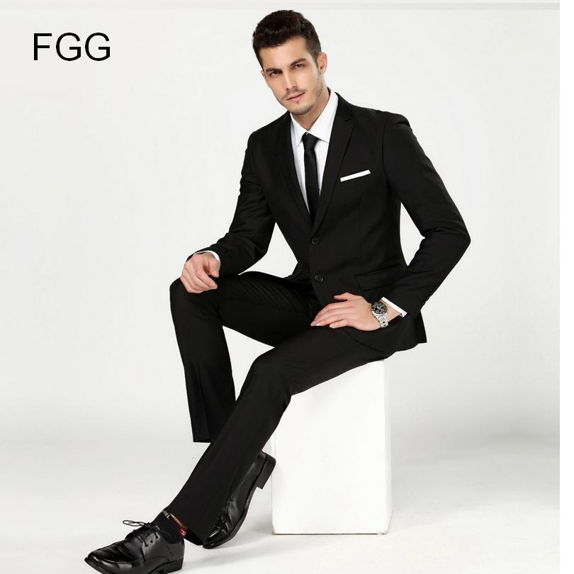 Sute For Formal: Men's Black Work Wear Business Formal Suit Set Men Wedding