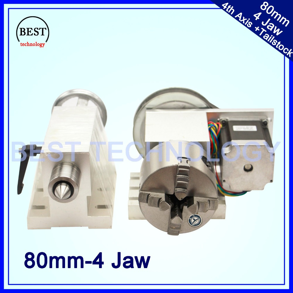 4 Jaw 80mm 4th Axis Tailstock CNC dividing head Rotation Axis A axis kit for Mini