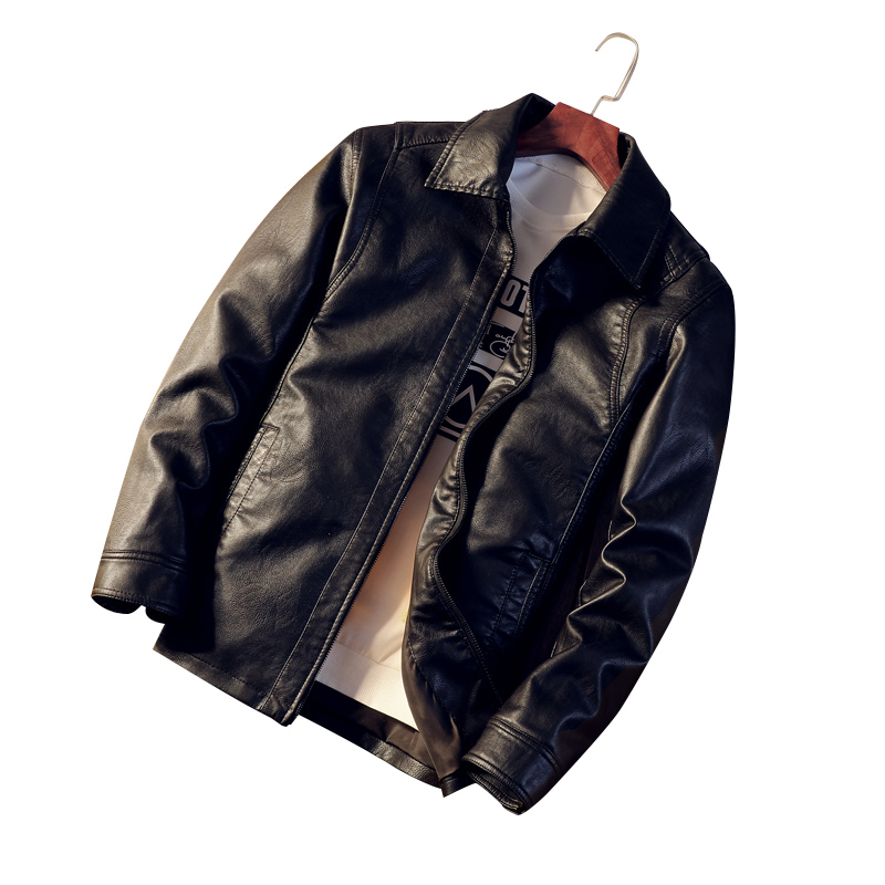 Black Long Sleeve PU Leather Jackets Mens 4XL Fashion Casual Men Motorcycle Coats Turn-down Collar Man Faux Leather Jacket
