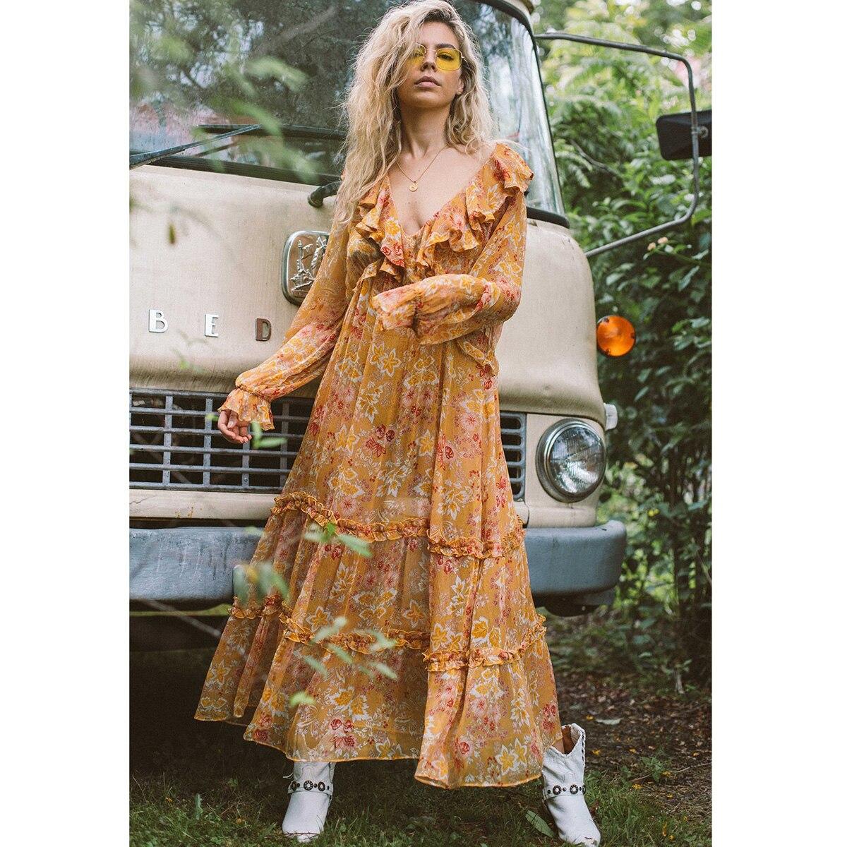 Jastie à volants col en V robe d'été à manches longues imprimé Floral robes femmes vêtements 2019 été Boho robe de plage avec robe mi-longue doublée